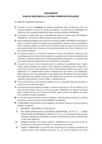 Reglamento Asistencia SOS para comercios afiliados ... - Credomatic