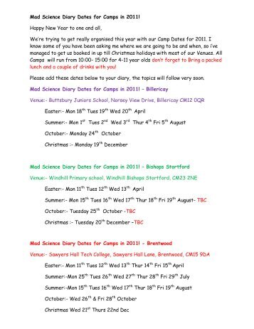 Mad Science Diary Dates for Camps in 2011! Happy New Year to ...