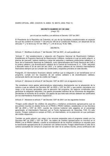 Conocer este Decreto - Ministerio de Agricultura y Desarrollo Rural