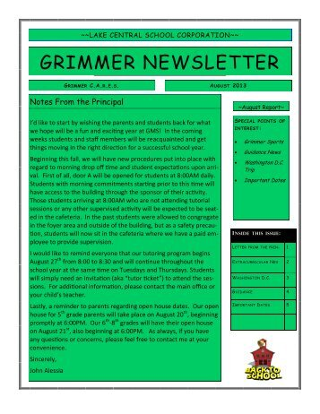 Current Newsletter - Grimmer Middle School - Lake Central School ...