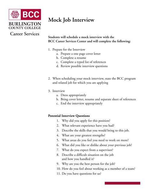 Mock Job Interview Form