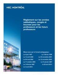 Règlement sur les années sabbatiques, congés et ... - HEC Montréal