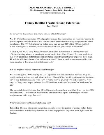 Family Health: Treatment and Education - Drug Policy Alliance