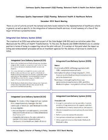 Continuous Quality Improvement (CQI) Planning: Behavioral Health ...