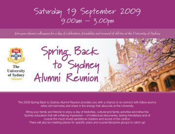 Spring Back to Sydney Alumni Reunion - The University of Sydney