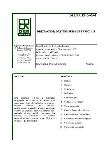 DER/PR ES-D 07/05 DRENAGEM: DRENOS SUB-SUPERFICIAIS