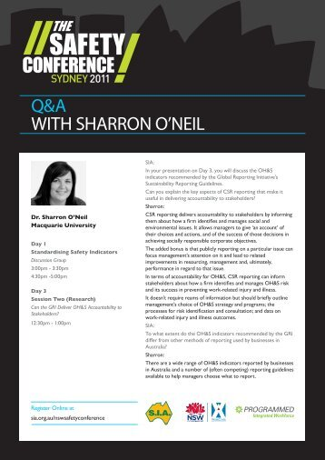 Q&A WITH SHARRON O'NEIL - Safety Institute of Australia