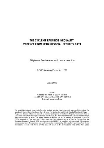 the cycle of earnings inequality: evidence from spanish ... - Cemfi