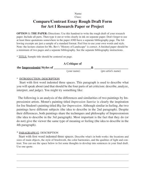 Comparecontrast Essay Rough Draft Form For Art I Research Paper  Comparecontrast Essay Rough Draft Form For Art I Research Paper