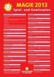 Spiel- und Gewinnplan Magie 2013 - Adp Gauselmann GmbH