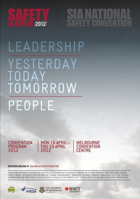 Leadership YesterdaY todaY tomorrow peopLe - Safety