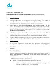 RELATED PARTY TRANSACTIONS POLICY EMIRATES ... - Du