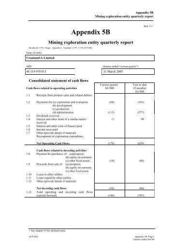 Appendix 5B - Mining exploration entity quarterly report - UraniumSA