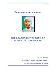 the leadership theory of robert K. greenleaf - Carol Smith Home Page