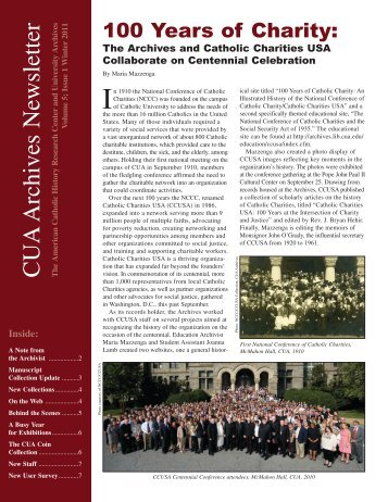 CUA Archives Newsletter - University Archives - The Catholic ...