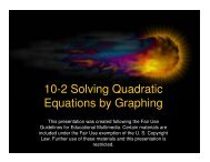 10-2 Solving Quadratic Equations by Graphing - Mona Shores Blogs