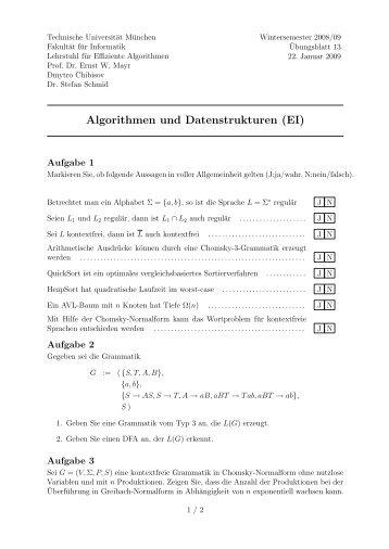 Algorithmen und Datenstrukturen (EI) - Lehrstuhl für Effiziente ...