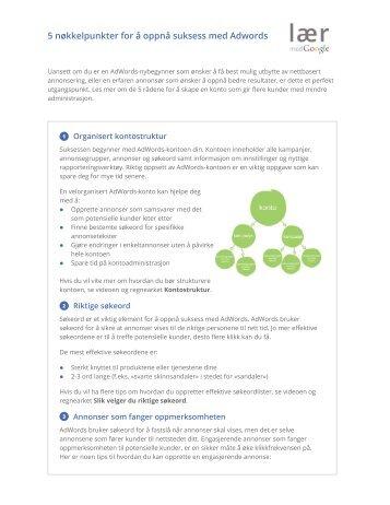 5 nøkkelpunkter for å oppnå suksess med Adwords