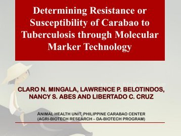 Determining Resistance or Susceptibility of Carabaos to ...