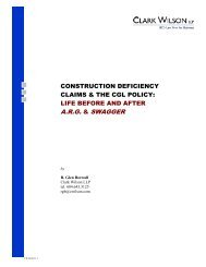 construction deficiency claims & the cgl policy - Clark Wilson LLP