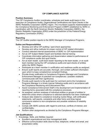 CIP Auditor.pdf - SERC Home Page