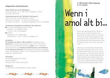 3. Rheintaler Alterstagung in St. Gallen Allgemeine Informationen