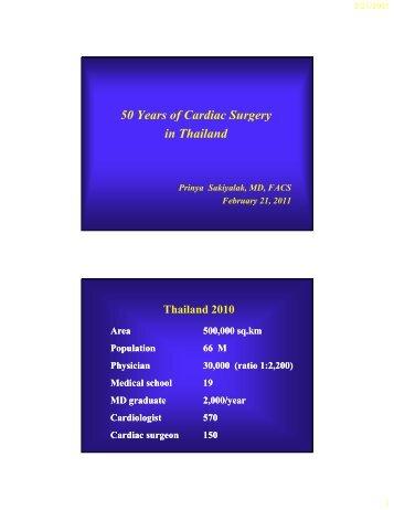 50 Years of Cardiac Surgery 50 Years of Cardiac Surgery in Thailand