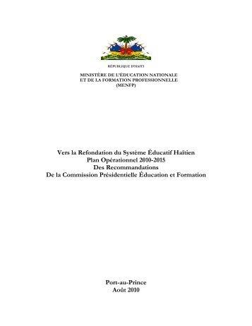Vers la Refondation du Système Éducatif Haïtien Plan ... - World Bank
