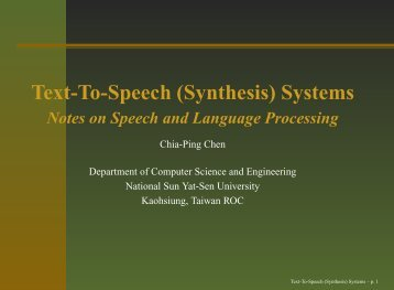 Text-To-Speech (Synthesis) Systems