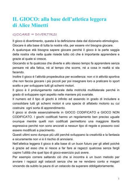 IL GIOCO: alla base dell'atletica leggera di Alice ... - Fidal Piemonte