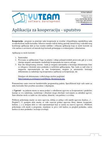 Aplikacija za kooperaciju - uputstvo - YuTeam Software