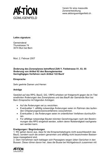 Einsprache - aktionguemligenfeld.ch