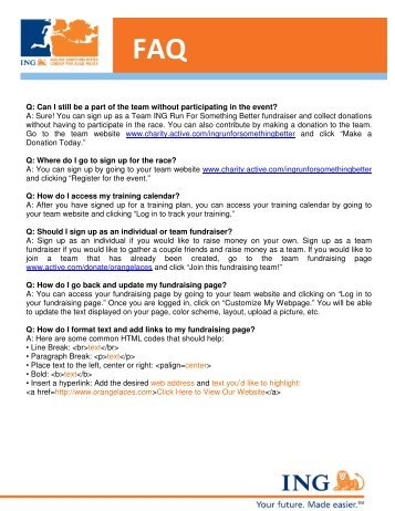 You can sign up as a Team ING Run For Somethin - Active.com