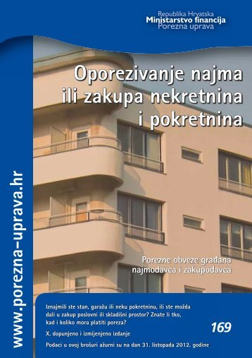 Oporezivanje najma ili zakupa nekretnina i ... - Porezna uprava