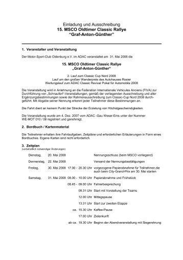 Einladung und Ausschreibung 15. MSCO Oldtimer Classic Rallye ...