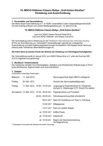 "19. MSCO-Oldtimer-Classic-Rallye ""Graf-Anton-Günther"" Einladung ..."