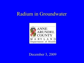 Radium in Groundwater - Maryland Department of Natural ...
