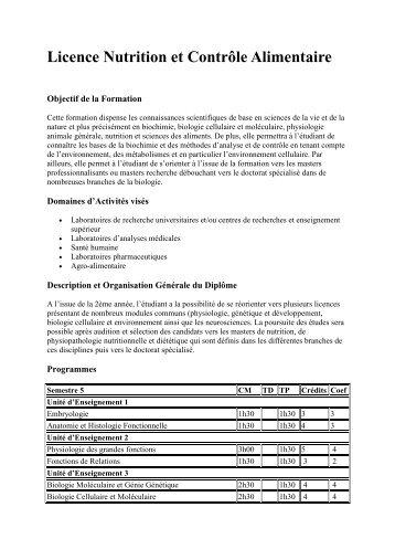 Licence Nutrition et Contrôle Alimentaire