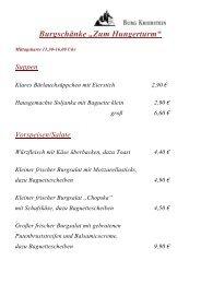 Die Speisekarte der Burgschänke - Burg Kriebstein