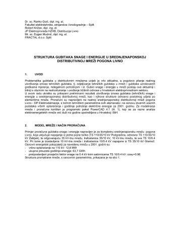 struktura gubitaka snage i energije u srednjenaponskoj ... - FESB