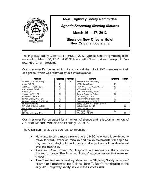 Iacp Highway Safety Committee Agenda Screening Meeting
