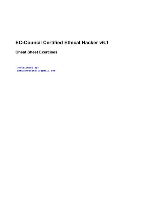 Certified Ethical Hacker (CEH) Cheat Sheet - SCADAhacker
