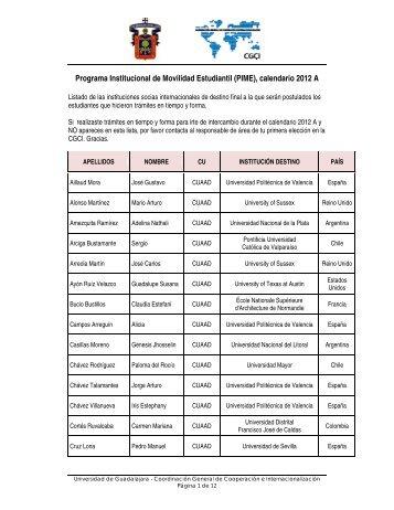 Programa Institucional de Movilidad Estudiantil (PIME), calendario ...