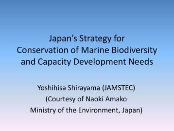 Japan's Strategy for Conservation of Marine Biodiversity and ...