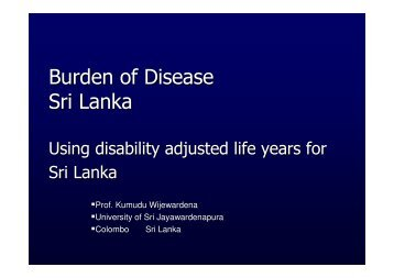 Burden of Disease Sri Lanka - Epi2008