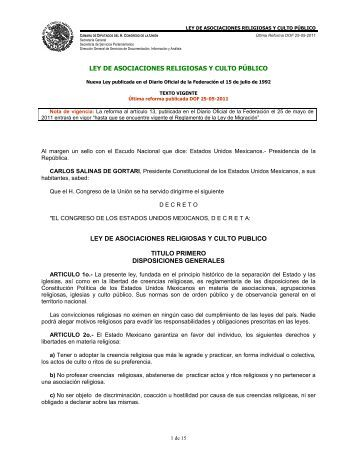 Ley de Asociaciones Religiosas y Culto Público - Normateca SEP
