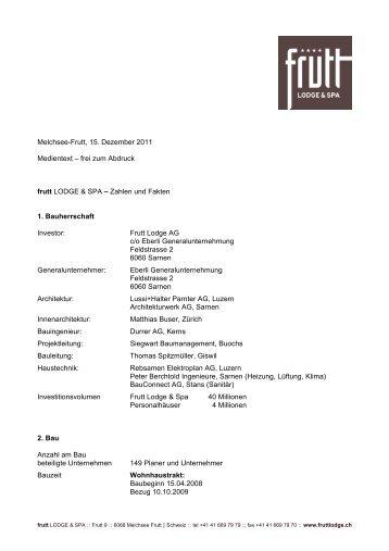 15. Dezember 2011: Medientext 4 - Zahlen & Fakten - Hotel Frutt ...