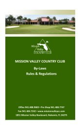 MISSION VALLEY COUNTRY CLUB By-Laws Rules & Regulations