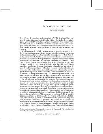 EL OCASO DE LAS DISCIPLINAS - Ludus Vitalis