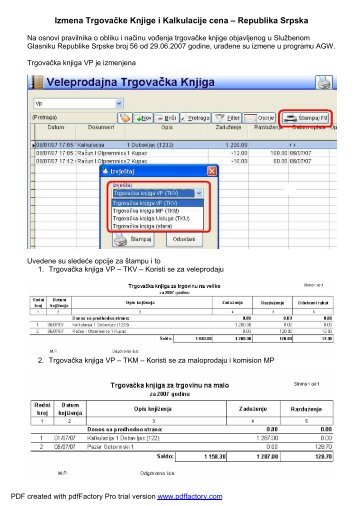 Izmena Trgovačke Knjige i Kalkulacije cena ... - Code System